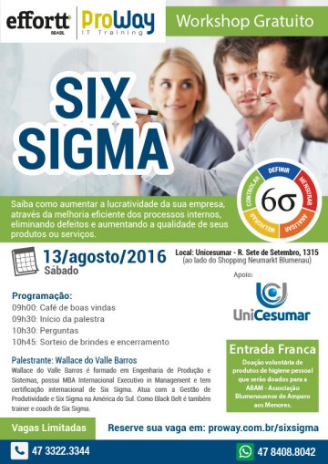 ProWay e Effort Brasil promovem Workshop Gratuito de Six Sigma