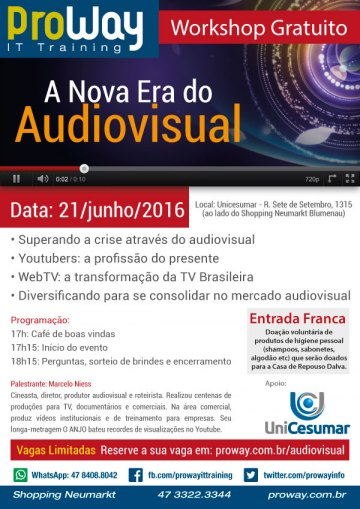 ProWay promoverá Workshop Gratuito A Nova Era do Audiovisual