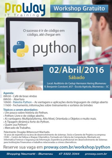 ProWay promoverá Workshop Gratuito de Python