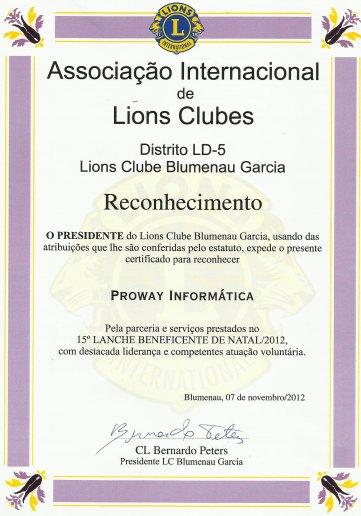 ProWay Participa de evento do Lions Clube