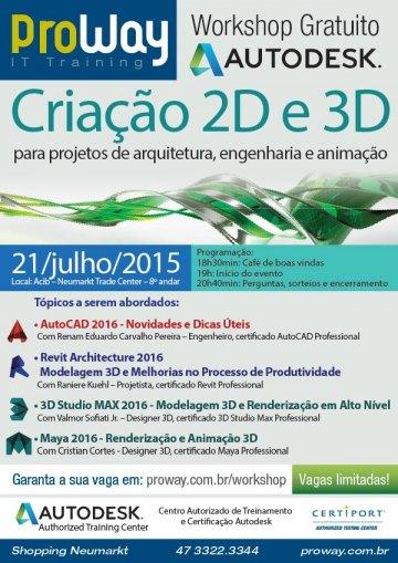 ProWay promoverá Workshop Gratuito Autodesk: Criação 2D e 3D para projetos de arquitetura, engenharia e animação