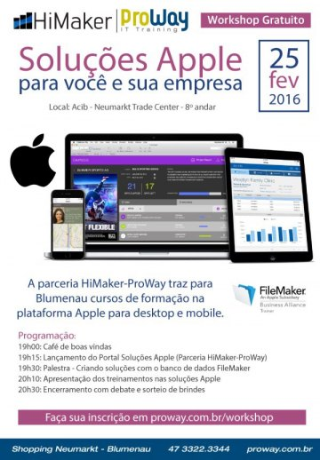 ProWay e Himaker promovem Workshop Gratuito Soluções Apple para você e sua empresa